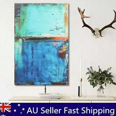 Abstract Modern Vintage Blue Canvas Wall Art Oil Printed Picture Home Room  L