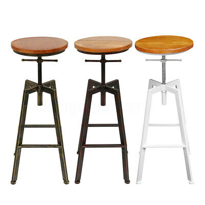Adjustable Bar Chairs Wooded Iron Counter Stool Retro Industrial Rotating Lift