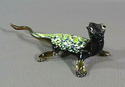 "5.5"" Vtg Italian Murano Blown Green Spatter Glass Lizard Reptile Animal Figurine"