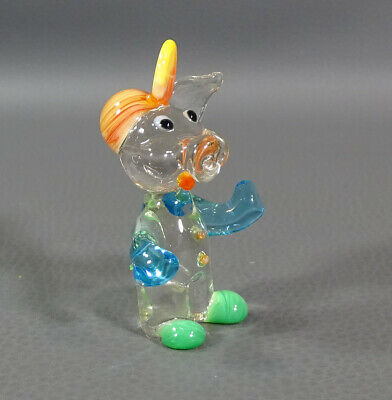 "Vtg Italian Murano Blown Glass Humanized Pig Animal Figurine 2 3/8""Figure Statue"