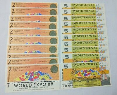 EXPO 1988 Brisbane Tourist Dollars $2 x 10 & $5 x 10 notes are consecutive
