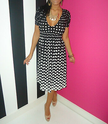 NEXT Black & White Polka Dot Stretch Swing V-Neck Summer Tea Dress Size 12
