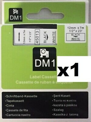 D1 Dymo Compatible Label tape 45013 black white & others 12mm x 7m S0720530