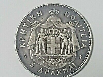 1901 5 Drachma Crete Greece Silver Coin. Great Detail Problem Free