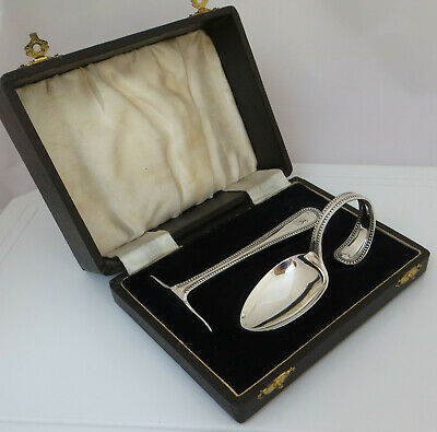 Cased Hallmarked Silver Spoon & 'Pusher' - Initial B ? - Christening Set / Gift