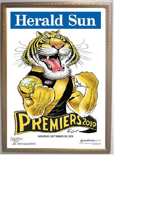 RICHMOND TIGERS 2019 AFL PREMIERS GRAND FINAL PREMIERSHIP KNIGHT POSTER Framed