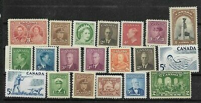 pk46185:Stamps-Canada Lot of 20 Assorted Older Issues - Mint Never Hinged