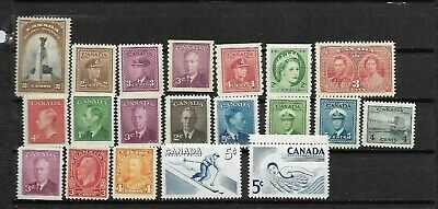 pk46189:Stamps-Canada Lot of 20 Assorted Older Issues - Mint Never Hinged