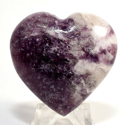46mm Lepidolite Heart Purple Natural Crystal Litha Mica Mineral Stone - Brazil