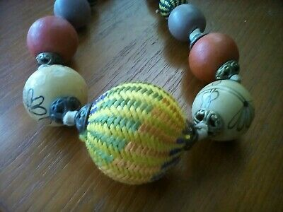 Hand painted, crochet, dyed, woven Antique necklace