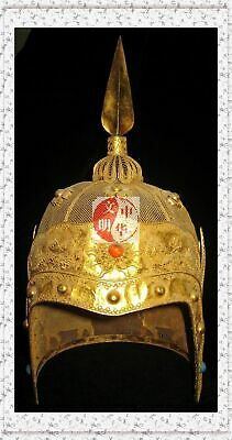 Antique China Emperor War Armor Helmet Gold Wing Stone4Dragon Statue Stone Crown