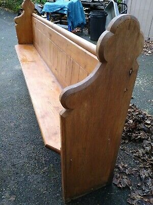 8ft Church Pew - Victorian Pitch pine with rear shelf and original hooks.