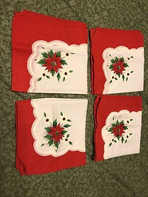 4 Vintage Cloth Scallop Red Poinsettia Napkins Christmas Holiday 17 x 17