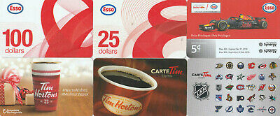 15 Gift Cards Empty Esso Tim Horton Canadian Tire Subway Walmart Pfk Ultramar