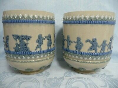Pair Of Antique (1880) Doulton Lambeth Jardinieres/Pots, Signed