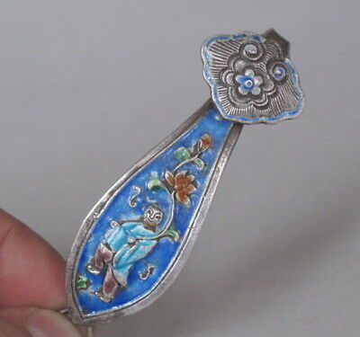 Old Chinese Handicraft Enamel Pure Silver Carved Ruyi Pendant