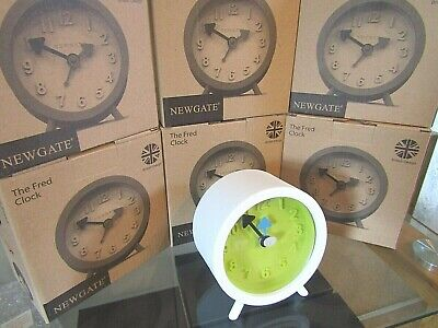 Job Lot Of Six New Boxed Newgate Fred Alarm Clock Pebble White And Green Dial