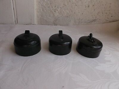 French set of 3  bakelite porcelain toggle  switches   genuine classic style