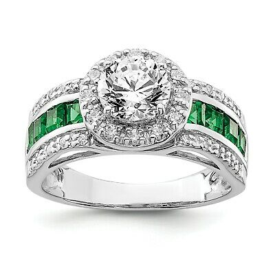Sterling Silver CZ and Lab Created Emerald Ring