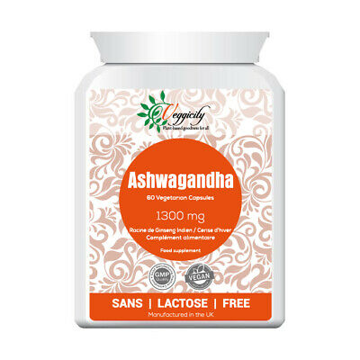 Ashwagandha 1300mg 60 Veg Capsules Strong Safe Dose 2-month UK-Made Flat Bottle