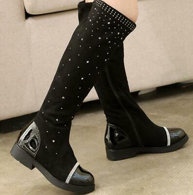 Kids Girls Diamante Flat Knee High Riding Stretch Boots School Winter Shoes New