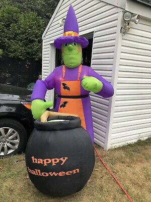Gemmy 8 foot Giant Airblown Inflatable Witch with Hair a Broom and Cauldron