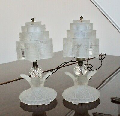 Vintage Art Deco Nouveau Lalique Frosted Glass Skyscraper Lamps - a Pair
