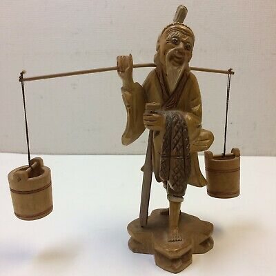 VTG‼ Asian Hand Carved Wood Man Carrying Water Buckets Figurine 5 Pieces • VGUC‼