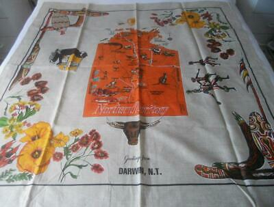 Unused Vintage 70'S Printed Linen Souvenir Table Cloth Darwin Northern Territory