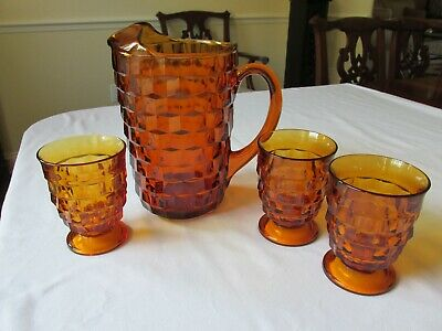 Vintage Colony Indiana Glass Whitehall Amber Cubist Ice Lip Pitcher & 3 Glasses
