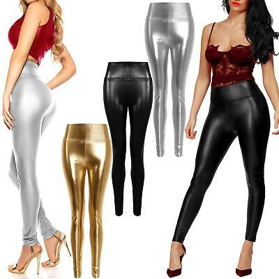 Womens Pu Leather Leggings High Waist Pv Wet Look Trousers Ladies Stretch Pants