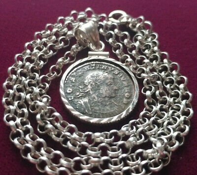 "Antique Roman Coin Pendant on 20"" Italian 925 Silver Early 1800's Artisan Chain."