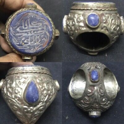 Huge Ottoman Antique Lapis Lazuli Seal intaglio Old Ring Stamp Stone Silver