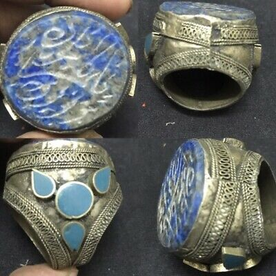 Huge Ottoman Antique  Lapis Lazuli Seal intaglio Ring Stamp Stone Silver Ring