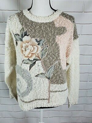 Vintage Shenanigans Sweater Knit Floral Beaded Size Medium M cream pink Pullover