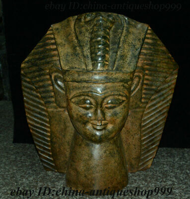 "16.8"" China Hongshan Culture Stone Carving Egyptian pyramids Pharaoh Head Statue"