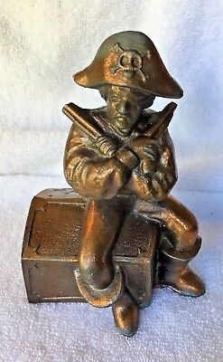 Pirates Treasure Chest Metal Coin BANK VINTAGE 1960s Collectible with Plug
