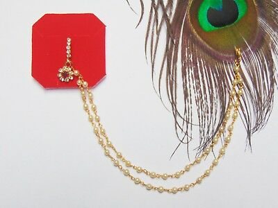 Gold Coins Bells Red Gem Indian Nose Ring Chain Wedding Nath Fake