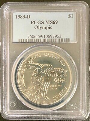 1983 P $1 Olympic Silver Commemorative Dollar PCGS MS69