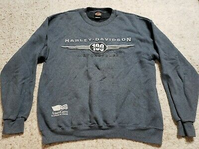 Harley Davidson Motorcycle Mens Sweatshirt Sweat Shirt Medium 100 Year 1903-2003