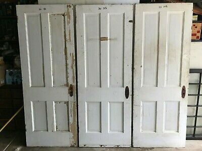 3 for $75 SALVAGE ANTIQUE 4 RAISED PANEL SHABBY PAINT WOOD INTERIOR DOOR -pickup