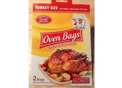HOME SELECT BIG CHEF OVEN BAGS TURKEY SIZE 2 BAGS .(19 inx 23 1/2 IN ) 2 pack.