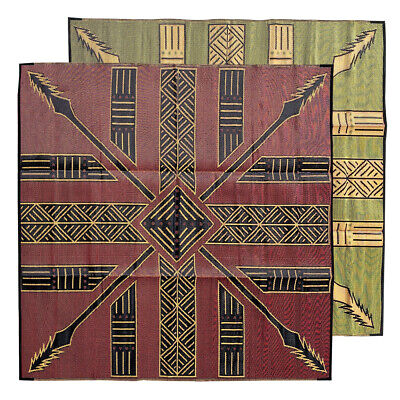 RECYCLED Outdoor Rug | Tiwi Islands Tutuni Design, 3m Square Red Black Yellow