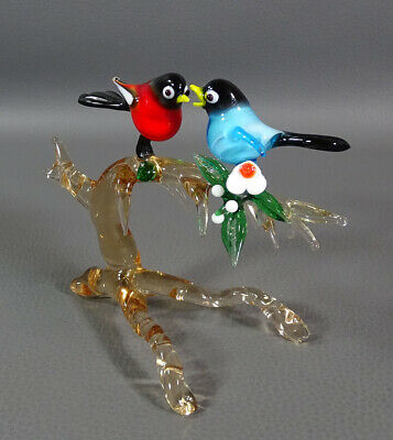 "Vtg Italian Murano Blown Glass Bird Pair Tree Branch Figurine 4""Sculpture Figure"