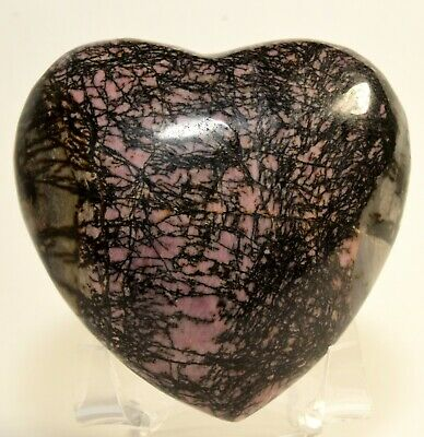 "2.9"" Pink Rhodonite w/ Black Dendrites Heart Polished Gemstone Crystal - China"