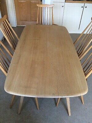 Ercol Dining Table and Six 6 Chairs (inc 2 Of Which Are Carvers) Vintage Antique