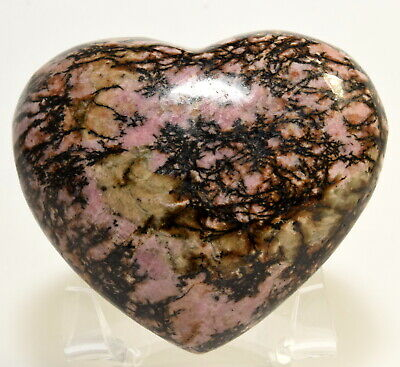 "3"" 340g Pink Rhodonite w/ Black Dendrites Heart Polished Gemstone Crystal China"