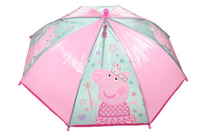 Christmas Peppa Pig Themed Umbrella - Curved Handle Children's Umbrella