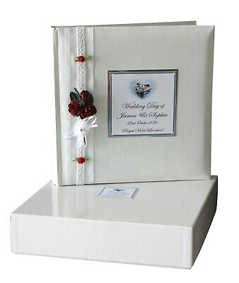 Personalised  Large White Wedding Album & GUEST BOOK RED ROSE   #PG3