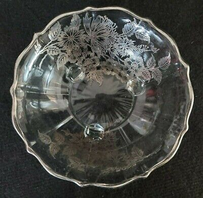 VINTAGE Clear Glass Footed Bowl Candy Dish Plate Silver Overlay Trim Flowers